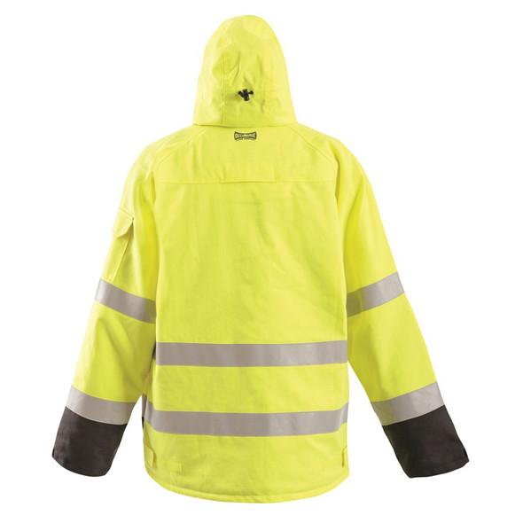 Occunomix FR Class 3 Hi Vis Yellow Black Bottom Bomber Jacket FR-JDWDBK Back