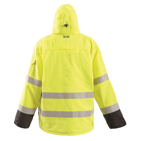 Occunomix FR Class 3 Hi Vis Yellow Black Bottom Bomber Jacket FR-JDWDBK Back