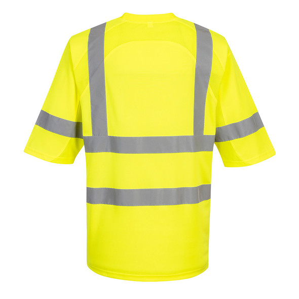 PortWest Class 3 Hi Vis Yellow T-Shirt with Pocket S397 Back