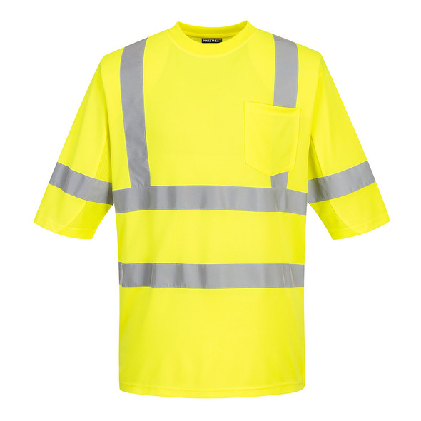 PortWest Class 3 Hi Vis Yellow T-Shirt with Pocket S397 Front