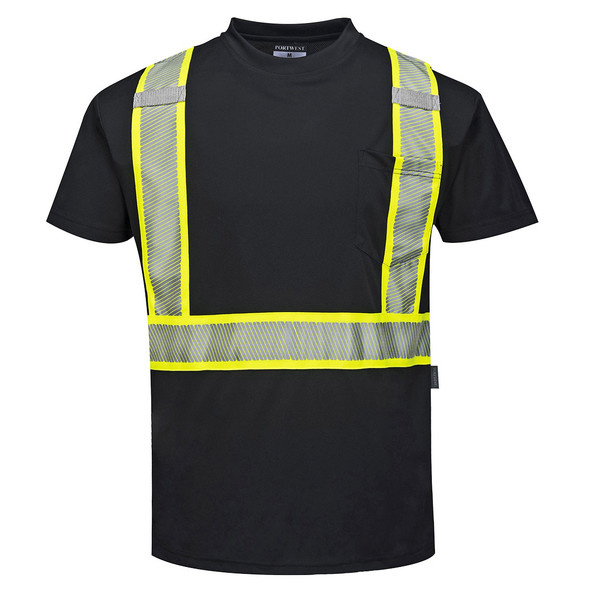 PortWest Enhanced Visibility Black Iona T-Shirt with Pocket S396 Front