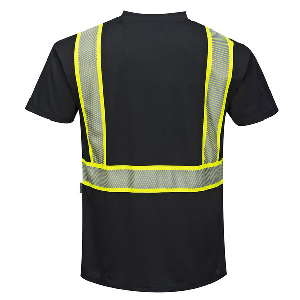 PortWest Enhanced Visibility Black Iona T-Shirt with Pocket S396 Back