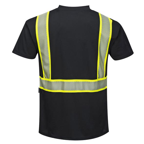 PortWest Enhanced Visibility Black Iona T-Shirt with Pocket S396 Back