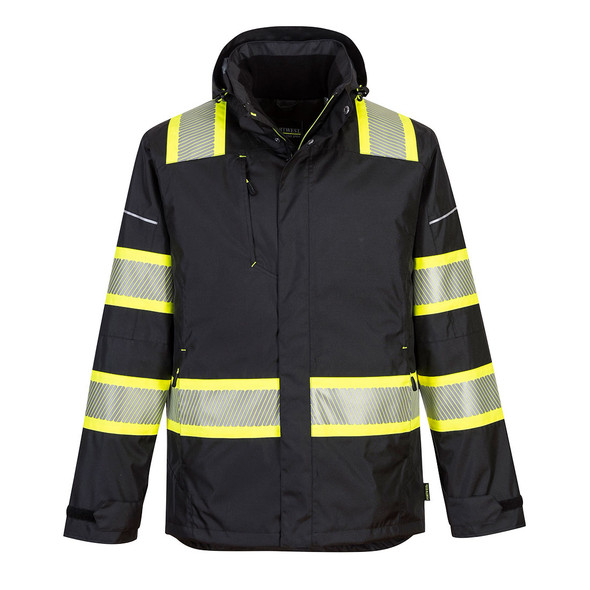 PortWest Enhanced Visibility Black Iona Winter Jacket F144 Front