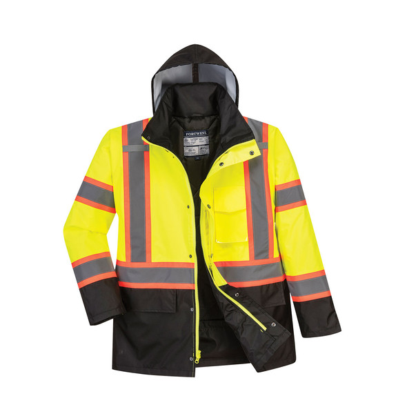 PortWest Class 3 Hi Vis Two-Tone Yellow Black Bottom Traffic Jacket US369 Front