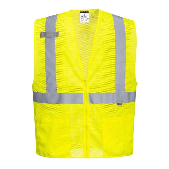 PortWest Class 2 Hi Vis Yellow Economy Mesh Zipper Safety Vest UC493