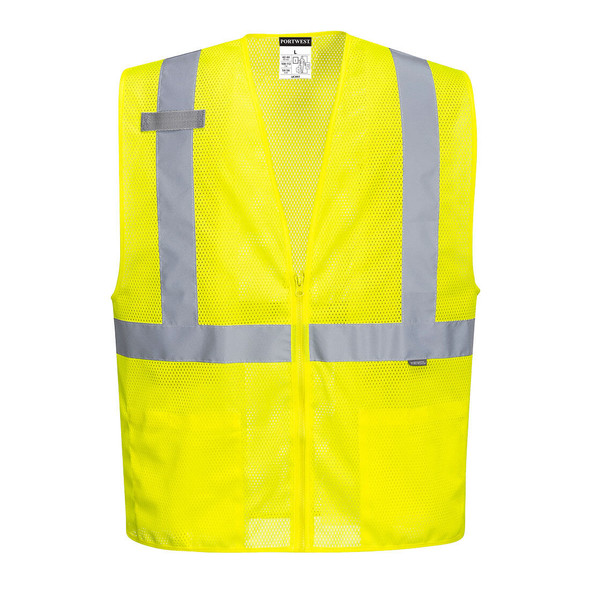 PortWest Class 2 Hi Vis Yellow Economy Mesh Zipper Safety Vest UC493