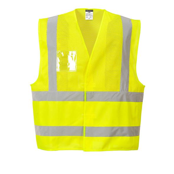 PortWest Class 2 Hi Vis Economy Mesh Vest UC494 Yellow Front