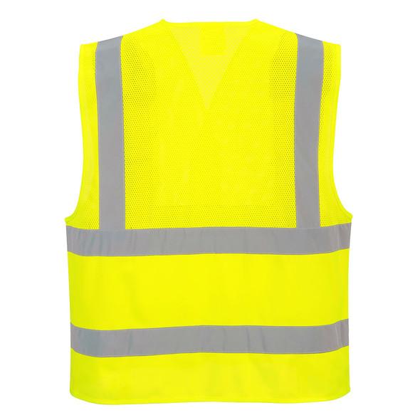 PortWest Class 2 Hi Vis Economy Mesh Vest UC494 Yellow Back