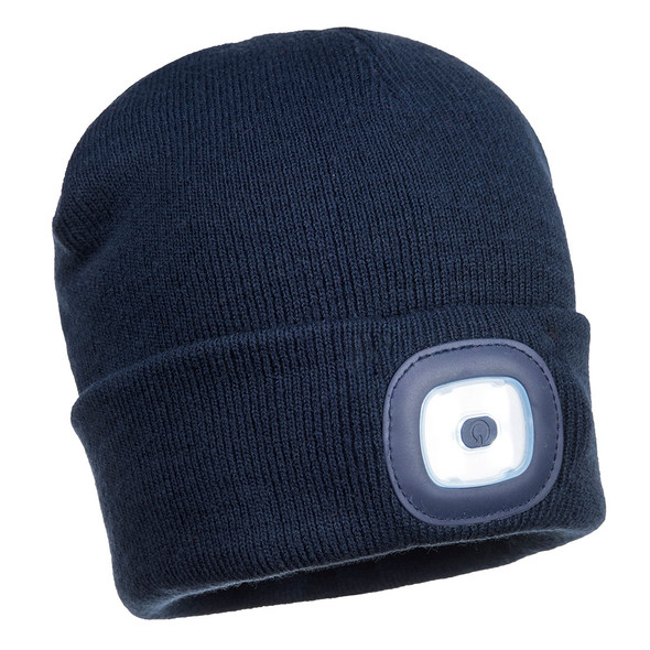 PortWest Junior LED Head Light Beanie B027 Navy