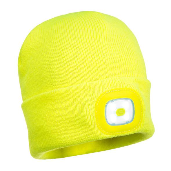 PortWest Non-ANSI Hi Vis LED Head Light Beanie Yellow Front