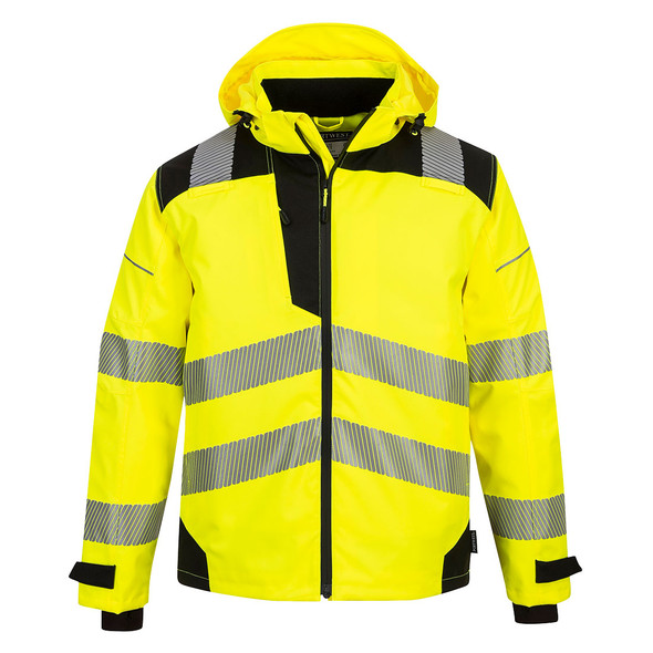 PortWest Class 3 Hi Vis Yellow Black Bottom Extreme Rain Jacket PW360