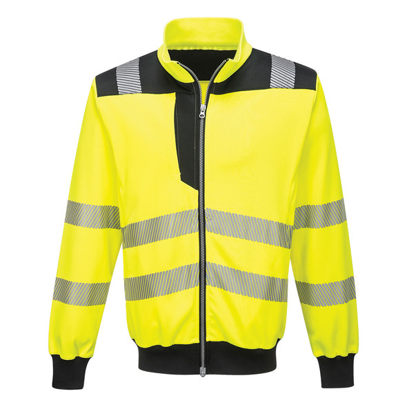 PortWest Class 3 Hi Vis Yellow with Black Trim Full Zip Sweatshirt PW370 Front