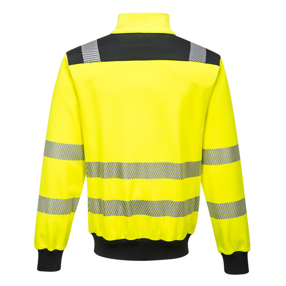 PortWest Class 3 Hi Vis Yellow with Black Trim Full Zip Sweatshirt PW370 Back