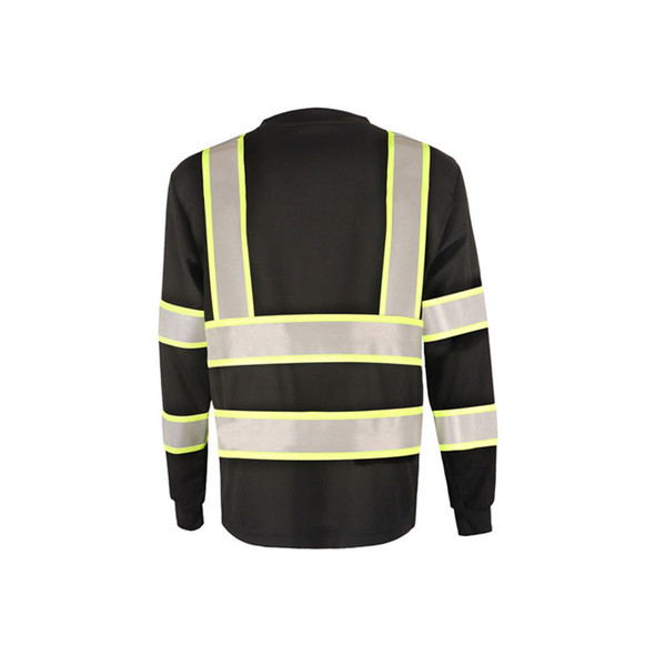 GSS Non-ANSI Enhanced Visibility Black Two-Tone Reflective Long Sleeve T-Shirt 5015 Back