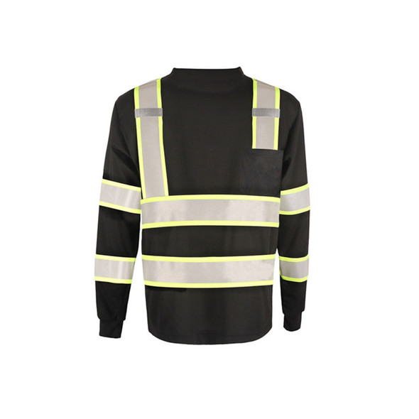 GSS Non-ANSI Enhanced Visibility Black Two-Tone Reflective Long Sleeve T-Shirt 5015 Front