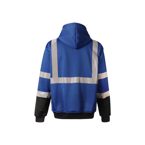GSS Non-ANSI Enhanced Visibility Blue Reflective Pullover Hoodie 7013 Back
