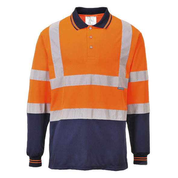 PortWest Class 2 Hi Vis Long Sleeve Navy Bottom Polo S279 Orange with Navy Bottom