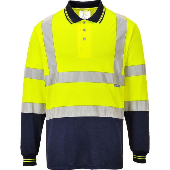PortWest Class 2 Hi Vis Long Sleeve Navy Bottom Polo S279 Yellow with Navy Bottom