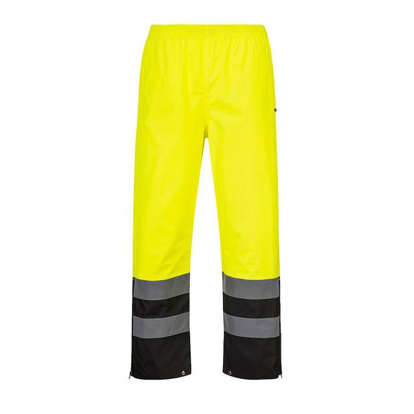 PortWest Class E Hi Vis Yellow Black Bottom Rain Pants S587 Front