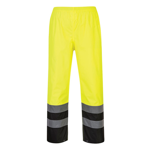PortWest Class E Hi Vis Yellow Black Bottom Rain Pants S587 Back