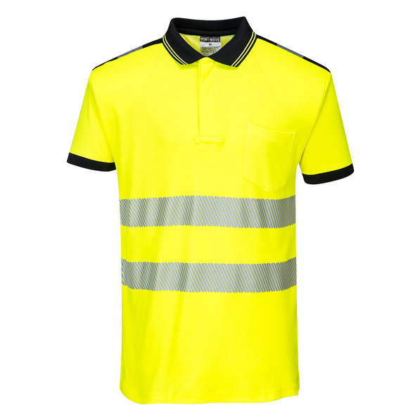 PortWest Class 2 Hi Vis Yellow Polo with Chest Pocket T180 Front