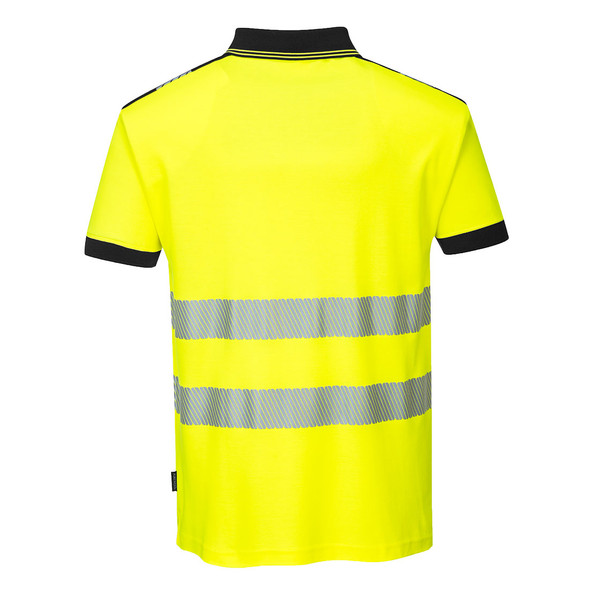 PortWest Class 2 Hi Vis Yellow Polo with Chest Pocket T180 Back