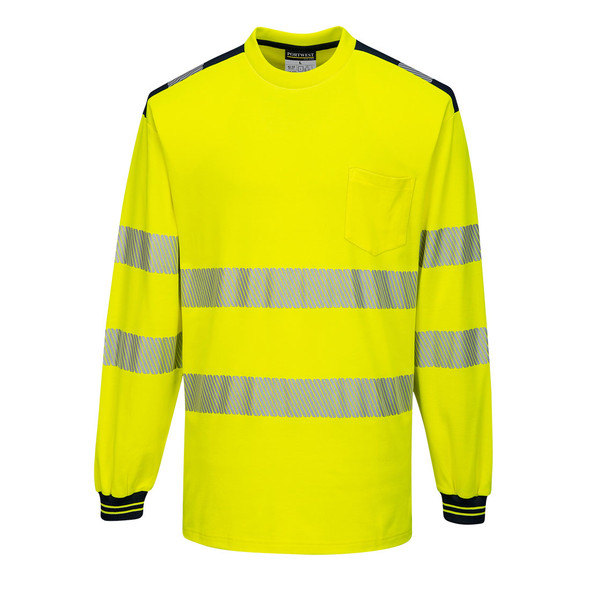 PortWest Class 3 Hi Vis Yellow Long Sleeve T-Shirt with Black Trim T185 Front