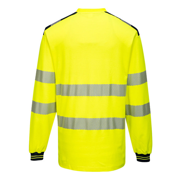 PortWest Class 3 Hi Vis Yellow Long Sleeve T-Shirt with Black Trim T185 Back
