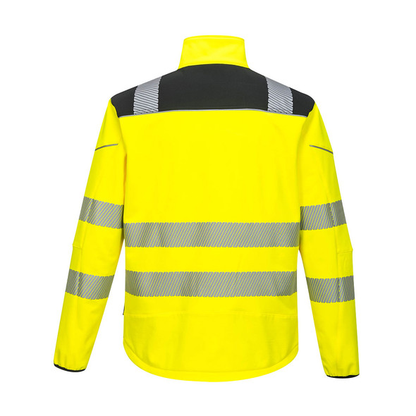 PortWest Class 3 Hi Vis Yellow Softshell Jacket with Black Trim T402 Back