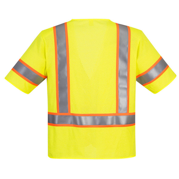 PortWest FR Class 3 Hi Vis Yellow Mesh Safety Vest UFR24 Back