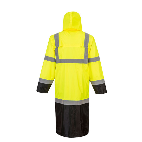 PortWest Class 3 Hi Vis Yellow Black Bottom Rain Coat UH446 Back