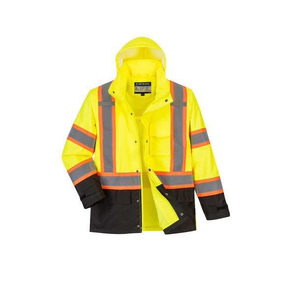 PortWest Class 3 Hi Vis Yellow Black Bottom Two-Tone Rain Jacket US361 Front