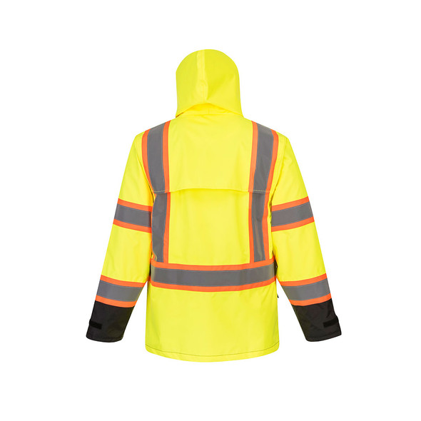 PortWest Class 3 Hi Vis Yellow Black Bottom Two-Tone Rain Jacket US361 Back