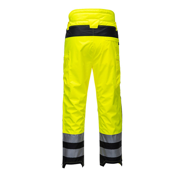 PortWest Class E Hi Vis Yellow Extreme Rain Pants PW342 Back