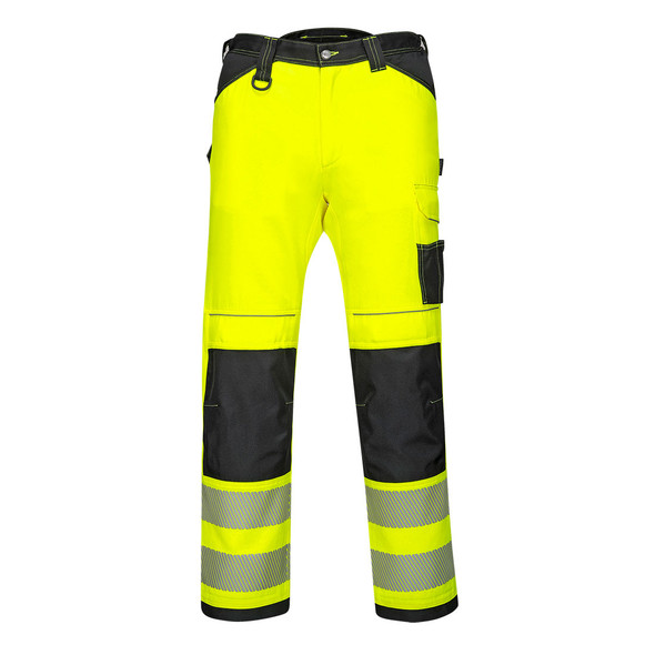 PortWest Class E Hi Vis Yellow Black Bottom Work Pants PW340 Front