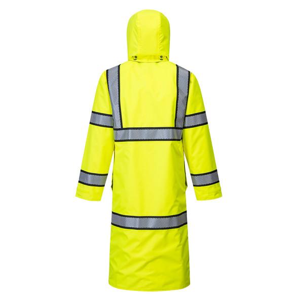 PortWest Class 3 Hi Vis Yellow Reversible Rain Coat with Black Trim UH447 Back