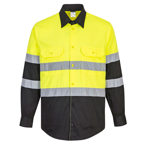 PortWest Class 2 Hi Vis Yellow Black Bottom Long Sleeve Work Shirt E066 Front