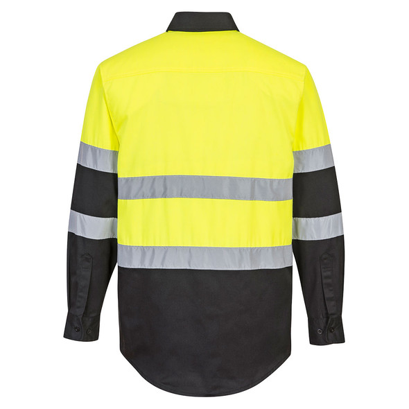 PortWest Class 2 Hi Vis Yellow Black Bottom Long Sleeve Work Shirt E066 Back
