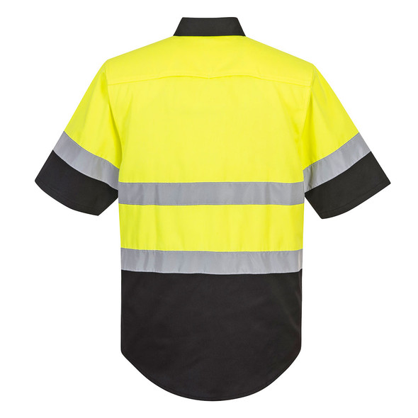 PortWest Class 2 Hi Vis Yellow Black Bottom Work Shirt E067 Back