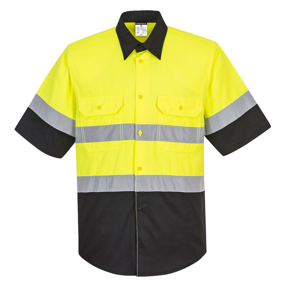 PortWest Class 2 Hi Vis Yellow Black Bottom Work Shirt E067 Front