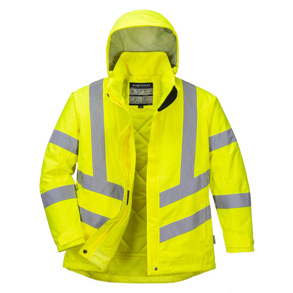 PortWest Class 3 Hi Vis Yellow Ladies Winter Jacket LW74 Front