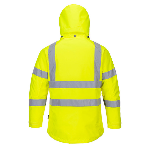 PortWest Class 3 Hi Vis Yellow Ladies Winter Jacket LW74 Back