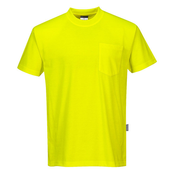 PortWest Non-ANSI Hi Vis T-Shirt with Chest Pocket S577 Yellow Front