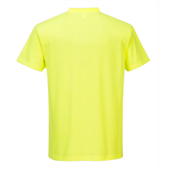 PortWest Non-ANSI Hi Vis T-Shirt with Chest Pocket S577 Yellow Back