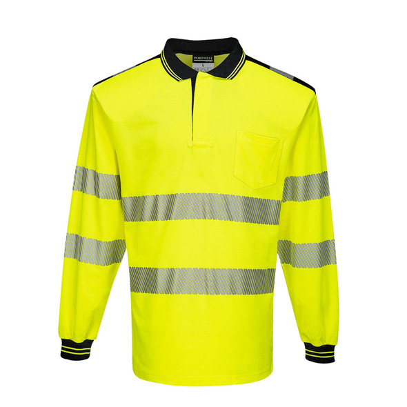 PortWest Class 3 Hi Vis Yellow Long Sleeve Polo with Chest Pocket T184 Front