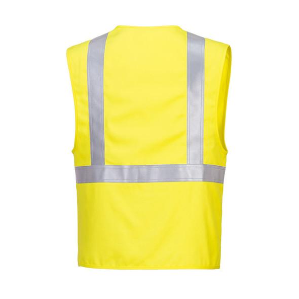 PortWest FR Class 2 Hi Vis Yellow Woven Vest UFR23 Back