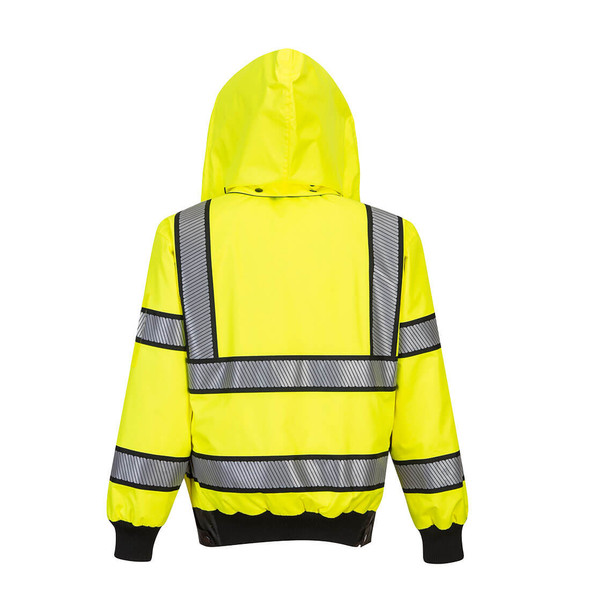 PortWest Class 3 Hi Vis Yellow Black Trim Reversible Bomber Jacket UH449 Back