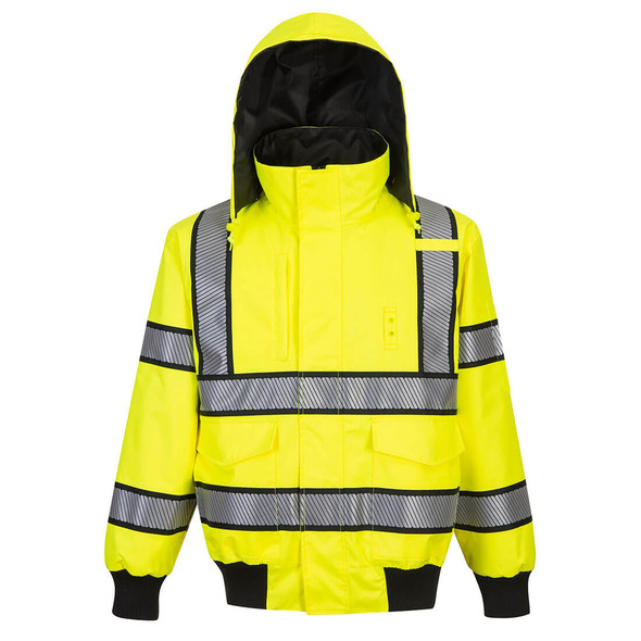 PortWest Class 3 Hi Vis Yellow Black Trim Reversible Bomber Jacket UH449 Front