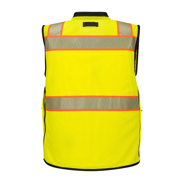 PortWest Class 2 Hi Vis Yellow Black Bottom Surveyor Vest US375 Back